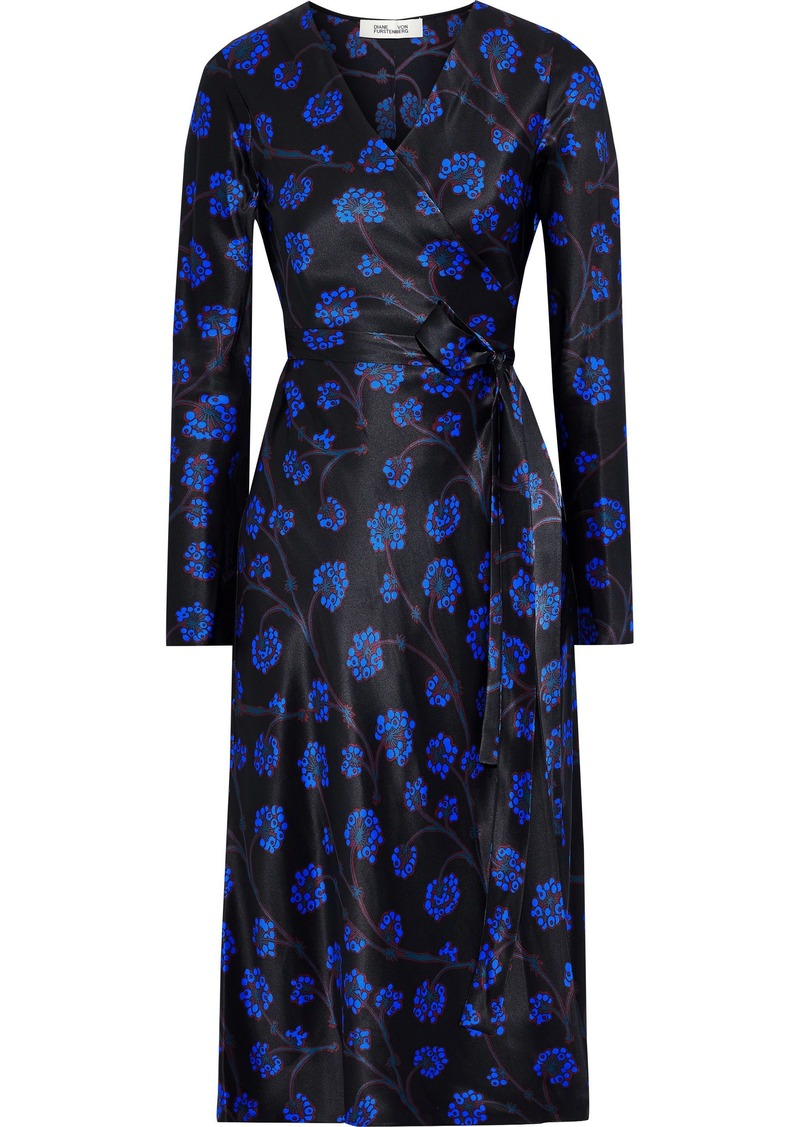 Diane Von Furstenberg Woman Tilly Floral-print Silk-satin Midi Wrap Dress Black