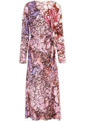 Diane Von Furstenberg Woman Tilly Marbled Silk-satin Midi Wrap Dress Blush