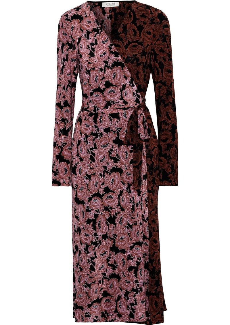 Diane Von Furstenberg Woman Tilly Paneled Floral-print Silk Crepe De Chine Midi Wrap Dress Pink