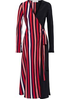 Diane Von Furstenberg Woman Tilly Paneled Striped Silk Crepe De Chine Midi Wrap Dress Multicolor