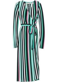 Diane Von Furstenberg Woman Floral-print Crepe Midi Wrap Dress Jade