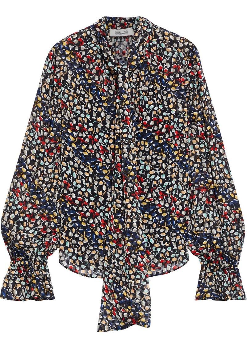 Diane Von Furstenberg Woman Tina Tie-neck Printed Fil Coupé Silk-chiffon Blouse Black
