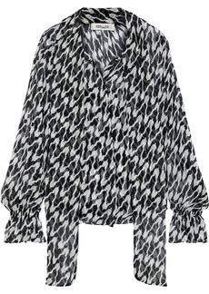 Diane Von Furstenberg Woman Tina Tie-neck Printed Silk-georgette Blouse Black