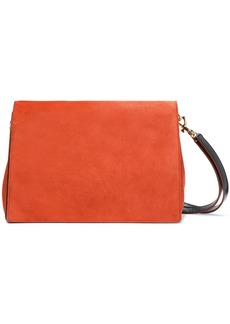 Diane Von Furstenberg Woman Tres Bonne Soirée Leather-paneled Suede Shoulder Bag Orange