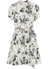 Diane Von Furstenberg Woman Trinity Belted Floral-print Silk Crepe De Chine Mini Dress Ivory