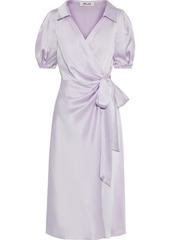 Diane Von Furstenberg Woman Valentina Satin Wrap Dress Lilac
