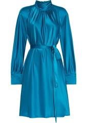 Diane Von Furstenberg Woman Veda Belted Pleated Satin Mini Dress Turquoise