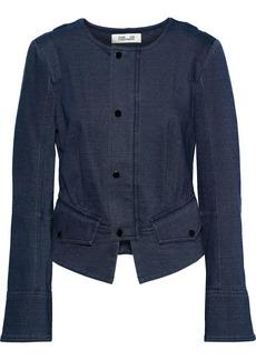 Diane Von Furstenberg Woman Verena Cotton-blend Jersey Jacket Navy