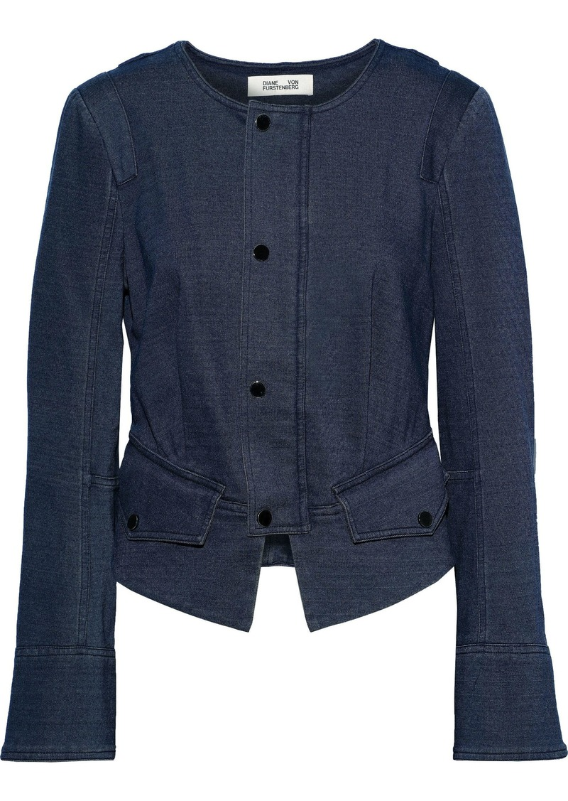 Diane Von Furstenberg Woman Verena Cotton-blend Jersey Jacket Navy