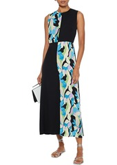 Diane Von Furstenberg Woman Verona Paneled Printed Silk-blend Crepe De Chine Midi Dress Black
