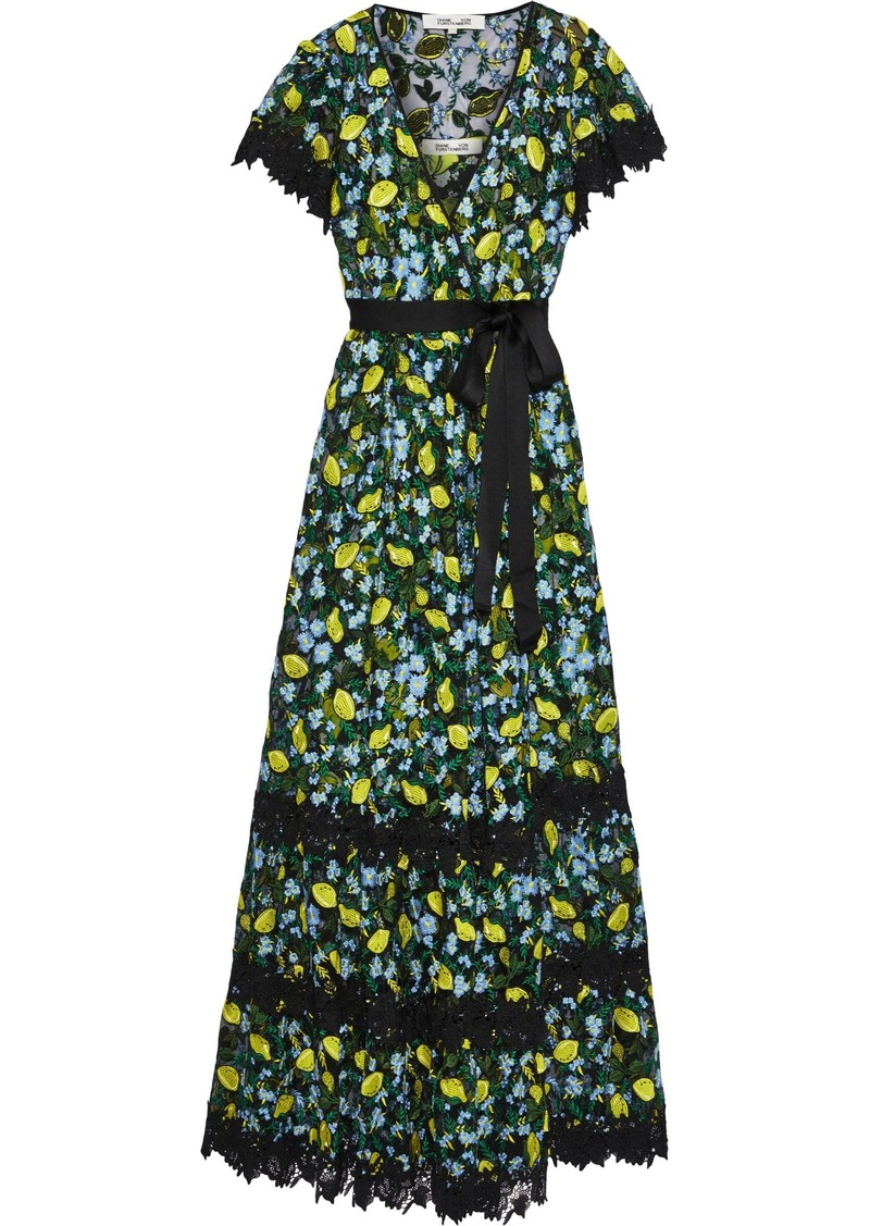 Diane Von Furstenberg Woman Victorious Guipure Lace-trimmed Embroidered Tulle Wrap Gown Black