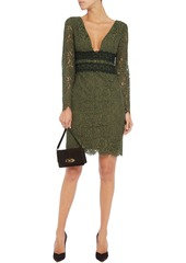 Diane Von Furstenberg Woman Viera Crochet-paneled Corded Lace Mini Dress Army Green