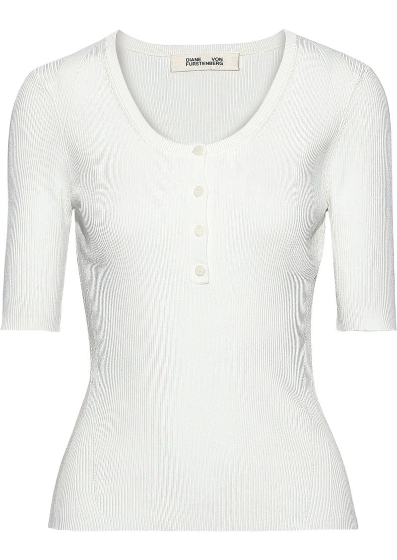 Diane Von Furstenberg Woman Ribbed-knit Top Ivory
