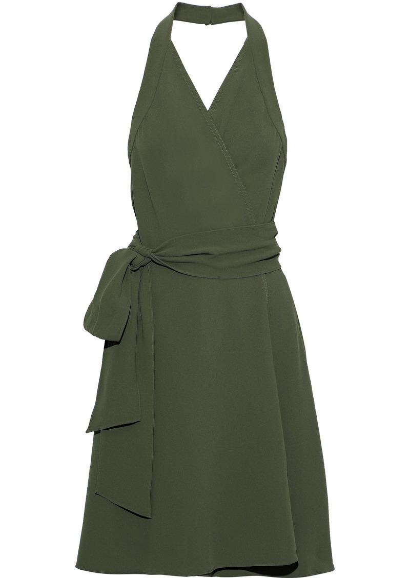 Diane Von Furstenberg Woman Violet Crepe Halterneck Wrap Dress Army Green