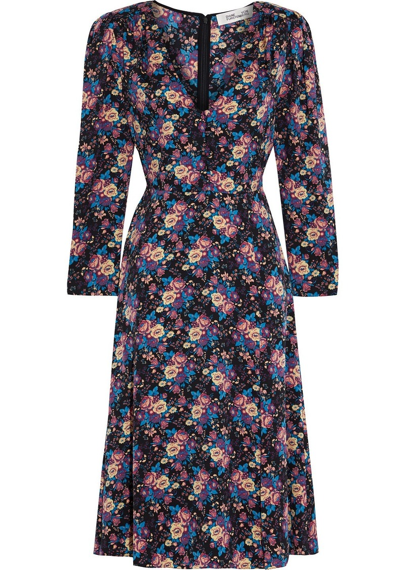 Diane Von Furstenberg Woman Vivi Floral-print Stretch-silk Dress Black