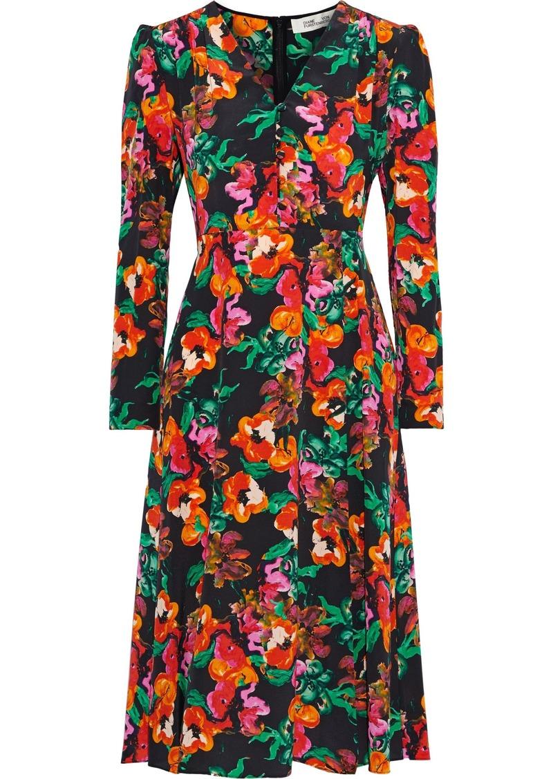 Diane Von Furstenberg Woman Viviana Button-detailed Printed Silk Dress Multicolor