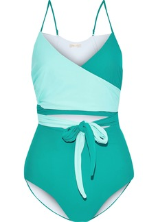 Diane Von Furstenberg Woman Von Cutout Two-tone Wrap Swimsuit Jade