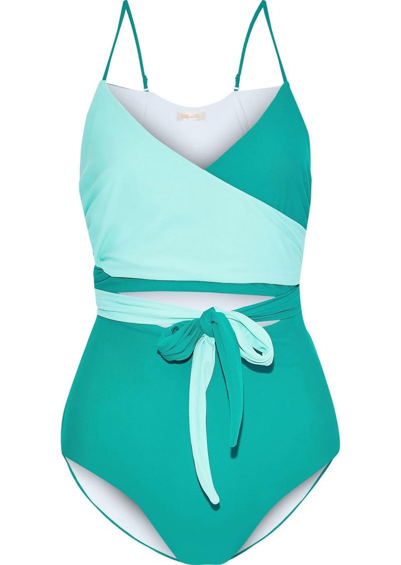 Diane Von Furstenberg Woman Von Cutout Two-tone Wrap Swimsuit Jade
