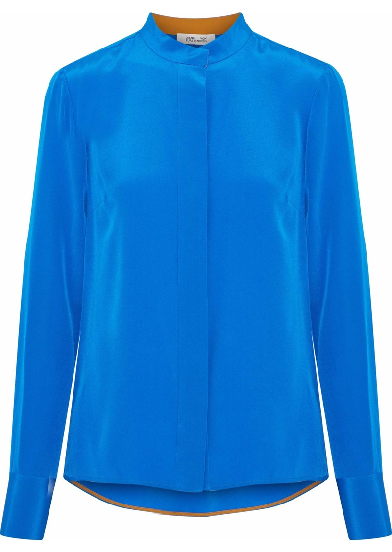 Diane Von Furstenberg Woman Washed-silk Shirt Bright Blue