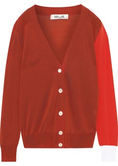 Diane Von Furstenberg Woman Wilma Color-block Merino Wool Cardigan Brick