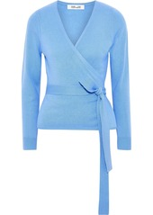 Diane Von Furstenberg Woman Wool And Cashmere-blend Wrap Sweater Light Blue