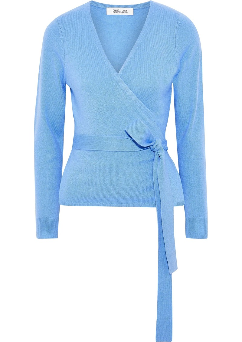 Diane Von Furstenberg Woman Wool And Cashmere-blend Wrap Sweater Light Blue