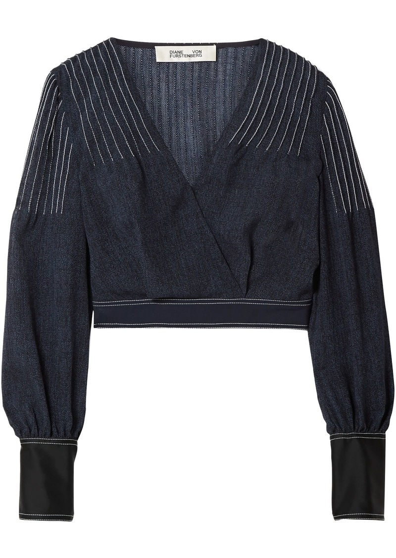 Diane Von Furstenberg Woman Wrap-effect Crepe And Satin-trimmed Voile Blouse Navy