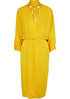 Diane Von Furstenberg Woman Wrap-effect Pleated Satin-crepe Dress Yellow