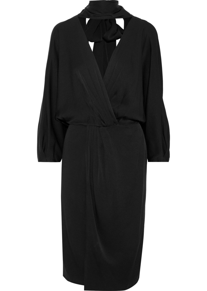 Diane Von Furstenberg Woman Wrap-effect Pleated Satin-crepe Dress Black