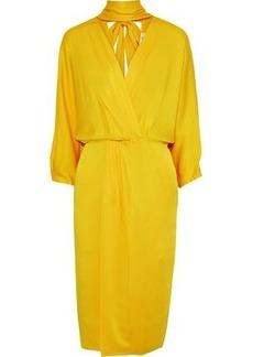 Diane Von Furstenberg Woman Wrap-effect Cutout Satin-crepe Dress Yellow