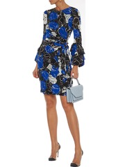 Diane Von Furstenberg Woman Faridah Wrap-effect Printed Stretch-mesh Mini Dress Royal Blue