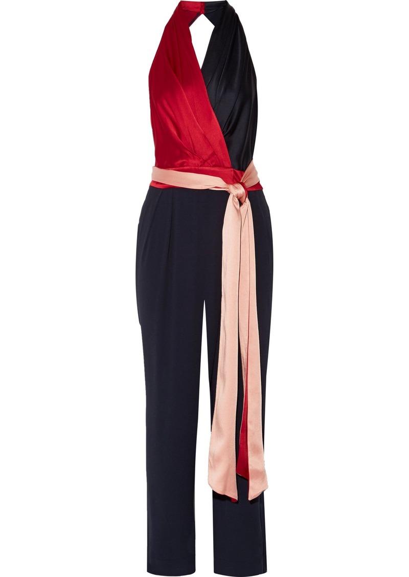 Diane Von Furstenberg Woman Wrap-effect Paneled Satin And Crepe Halterneck Jumpsuit Midnight Blue