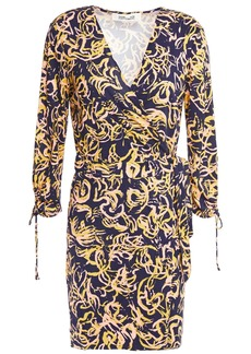 Diane Von Furstenberg Woman Wrap-effect Printed Silk-jersey Playsuit Indigo