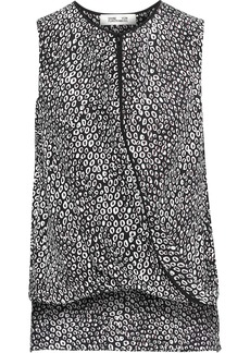 Diane Von Furstenberg Woman Wrap-effect Printed Silk Top Black