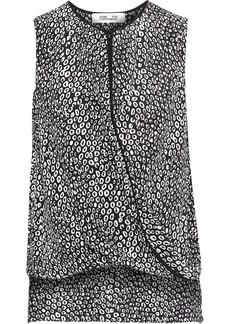 Diane Von Furstenberg Woman Wrap-effect Printed Silk Top Black