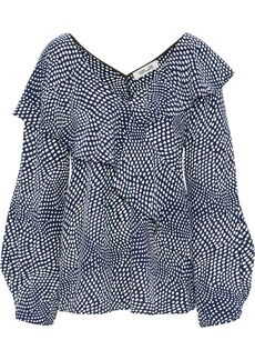 Diane Von Furstenberg Woman Wrap-effect Ruffled Polka-dot Silk Blouse Navy