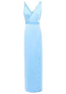 Diane Von Furstenberg Woman Wrap-effect Satin-crepe Gown Light Blue