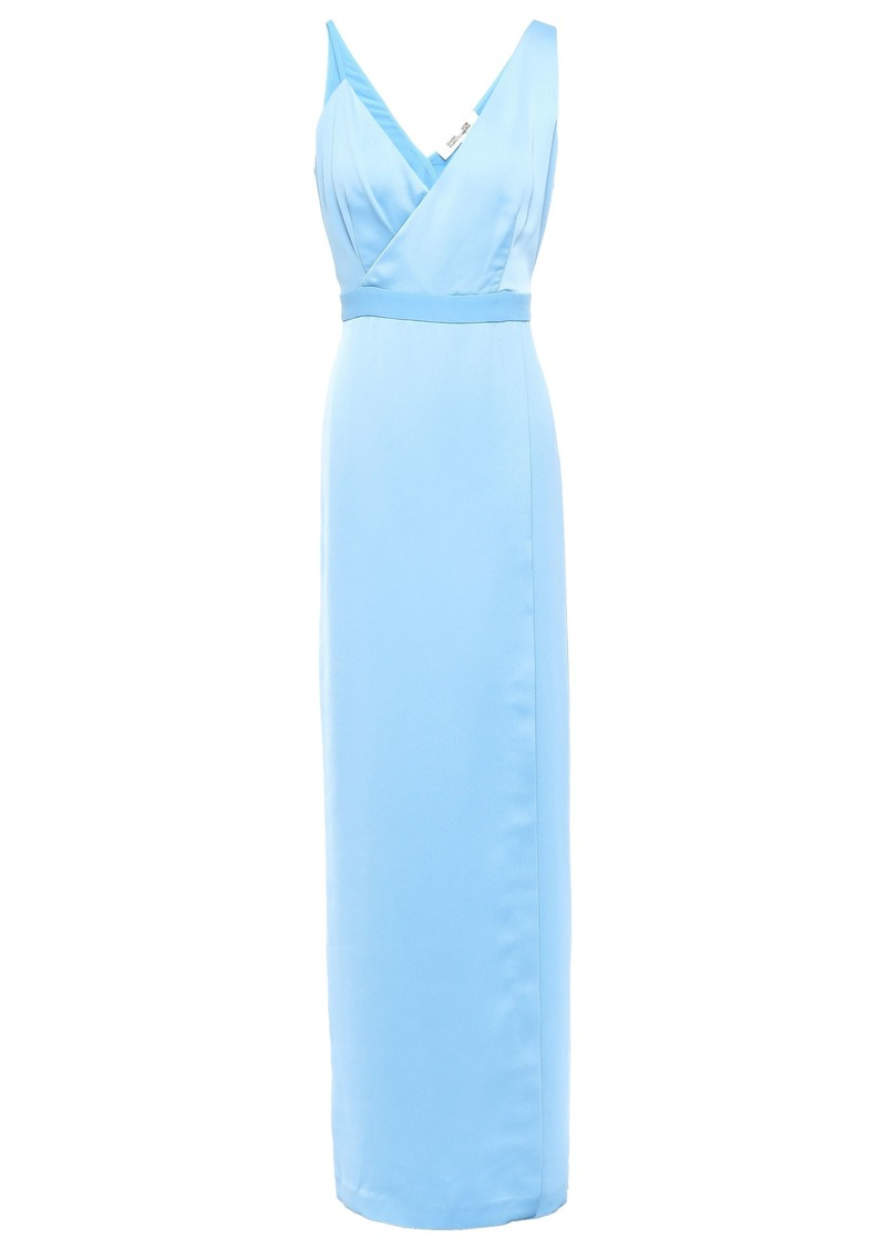 Diane Von Furstenberg Woman Wrap-effect Satin-crepe Gown Light Blue