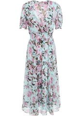 Diane Von Furstenberg Woman Wrap-effect Shirred Floral-print Silk-crepon Midi Dress Turquoise