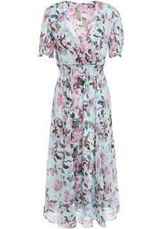 Diane Von Furstenberg Woman Wrap-effect Shirred Floral-print Silk-crepon Midi Dress Turquoise