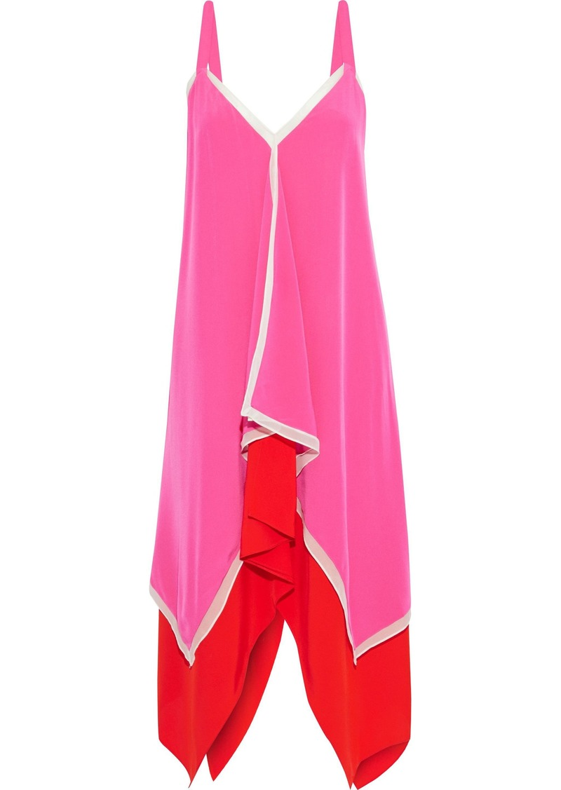 Diane Von Furstenberg Woman Wren Asymmetric Layered Silk Crepe De Chine Dress Fuchsia
