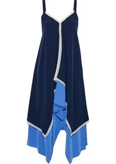 Diane Von Furstenberg Woman Wren Asymmetric Layered Silk Crepe De Chine Dress Navy