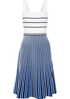 Diane Von Furstenberg Woman Yasmin Pleated Striped Knitted Dress Ivory