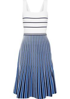 Diane Von Furstenberg Woman Yasmin Pleated Striped Knitted Dress Ivory