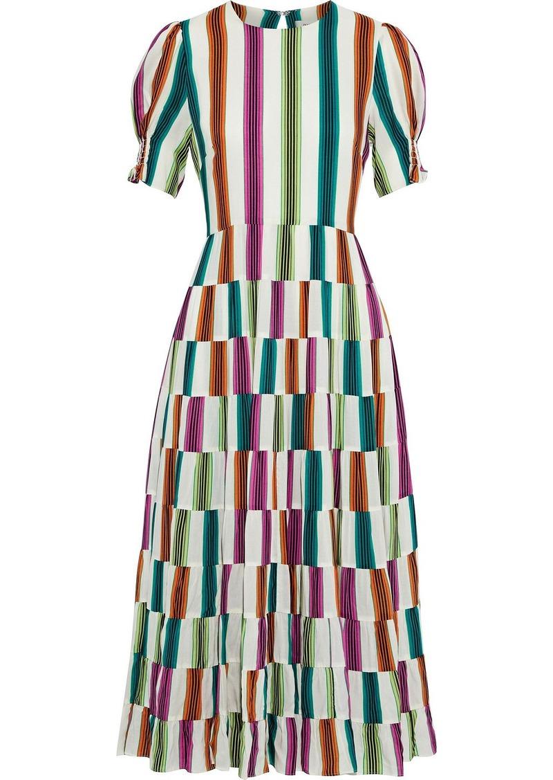 Diane Von Furstenberg Woman Zadie Tiered Tie-back Striped Voile Midi Dress Off-white