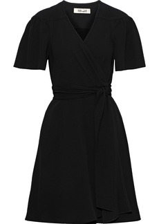 Diane Von Furstenberg Woman Crepe Mini Wrap Dress Black