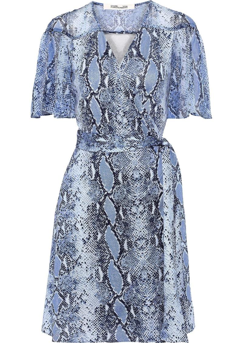 Diane Von Furstenberg Woman Zella Snake-print Georgette-paneled Silk-jersey Mini Wrap Dress Animal Print