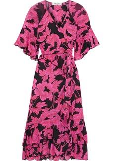 Diane Von Furstenberg Woman Zion Ruffled Floral-print Stretch-mesh Wrap Dress Pink