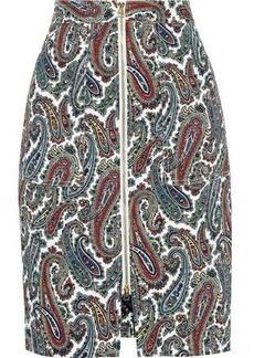 Diane Von Furstenberg Woman Zip-detailed Printed Stretch-cotton Skirt Ivory