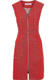 Diane Von Furstenberg Woman Zip-detailed Studded Denim Mini Dress Crimson